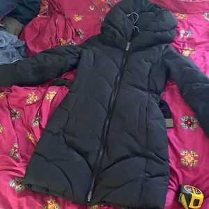 Hawke & Co long black puffer coat XS